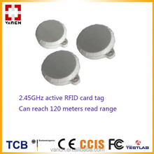 120 meters reading range Button shape fob key 2.45GHz active RFID tag
