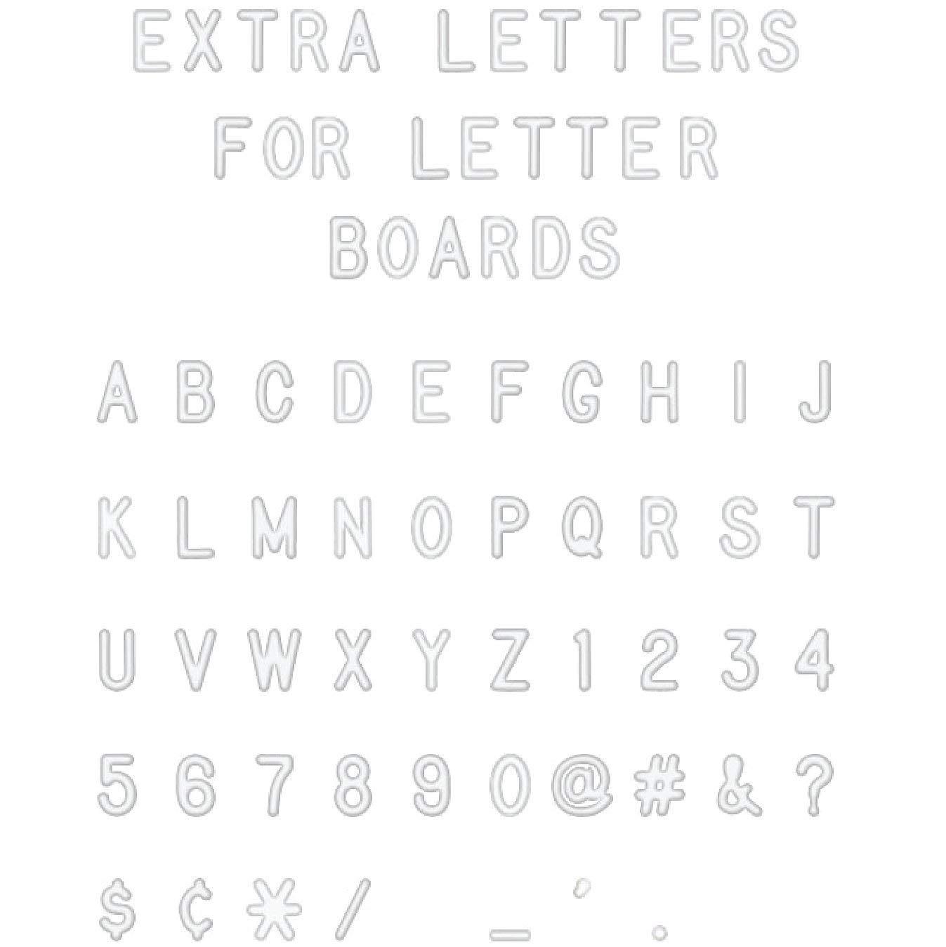 """White Plastic Letter Set for Changeable Felt Letter Boards. 3/4"""" Letters, Set of 300 Characters by Felt Like Sharing. No Gift Box Version."""