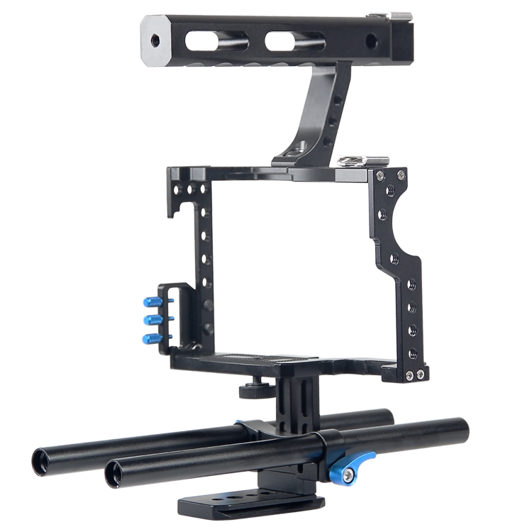 YELANGU Aluminum Alloy Video Handheld Stabilizer Kit Top Handheld Grip+Rail Rod for GH4 A7/A7S/A7RII/A7SII