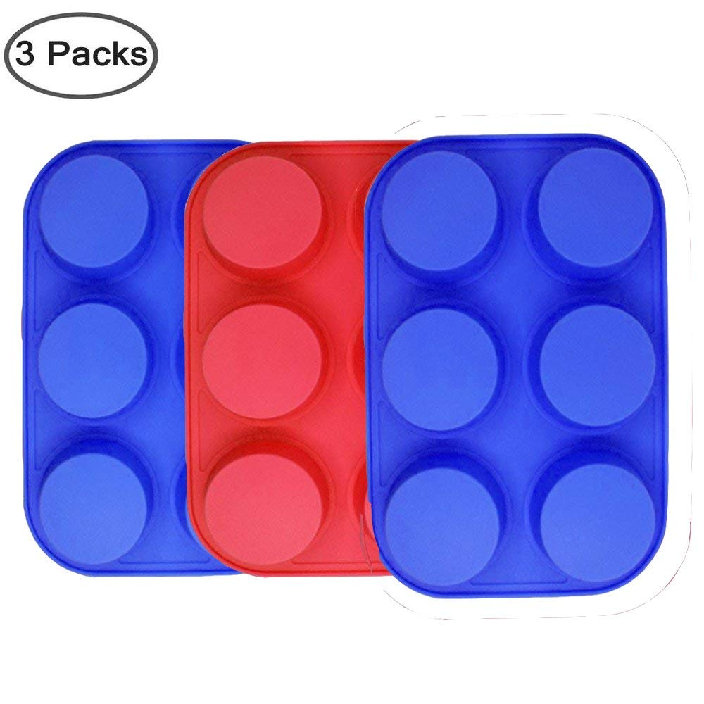 6-Cup Silicone Muffin Mold Set of 3, Non-Stick Baking Pans, Muffin Molds for Muffin Cupcake Bread Handmade Soap DIY cake mold Dessert Mold, Dishwasher, Oven, Microwave Oven Safe.