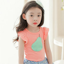 Factory Price Baby Girls Lovely Pleated Sleeve Pear Printed Tops Tee Kids Soft Cotton T Shirt