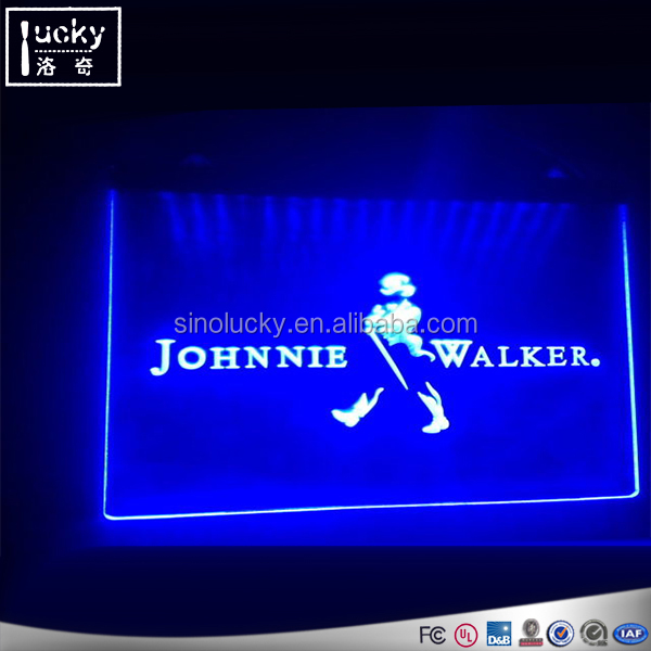 LED Edge-Lit Acrylic Hanging Information Board, RGB Logo Signs Advertising For Wine