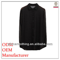 2015 high quality fashion korean style long sleeves foiling asian blouse