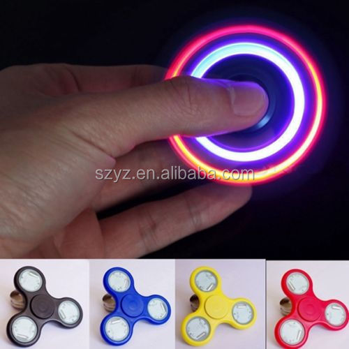 Wholesale anti anxiety desk toy alunimun alloy LED flashing fidget glow spinner/metal hand spinner