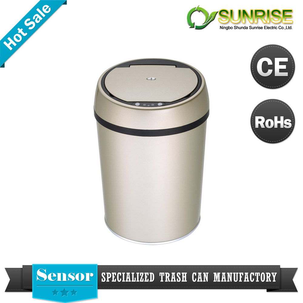 soil hockin stainless steel round decoration trash can for airport
