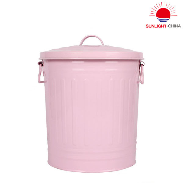 Customized Wholesale Good Quality Small Size Galvanized Classical Waste Bin