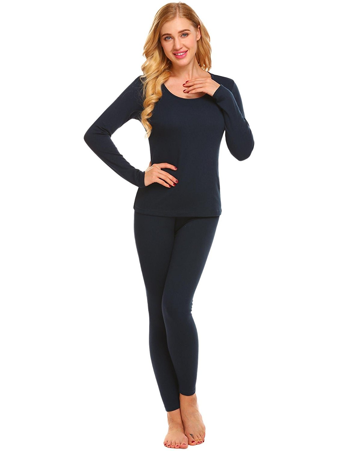 e50441bedf5f Get Quotations · Skylin Women Thermal Underwear Set O-Neck Long Sleeve Top  and Bottom Pajama Set S