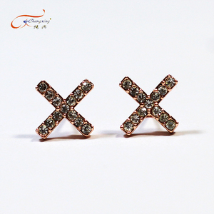 Custom production top grade letter x stud earring with rose gold zircon jewelry