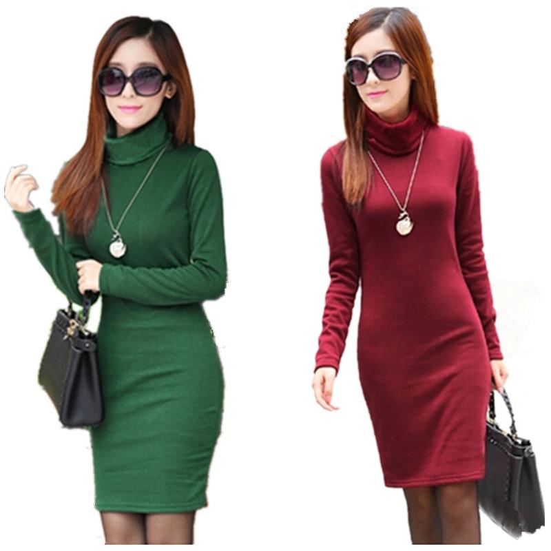 2015 Solid Thicken Winter Dress For Women Turtleneck Fleece Warm Dresses Feminino Casual Long Sleeve Plus