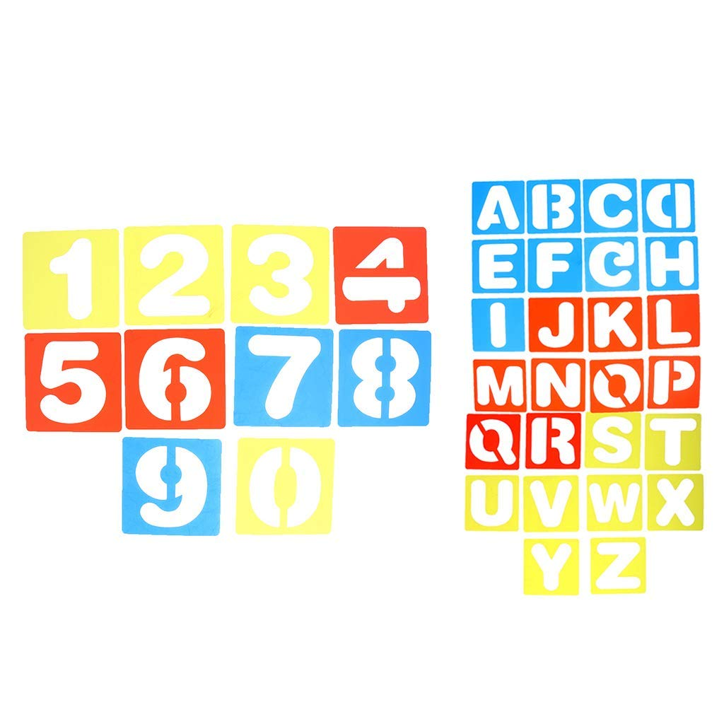 Get Quotations · Baosity 36 Pieces of 0-9 Arabic Numbers and A-Z Alphabet Letters Drawing Template Stencils