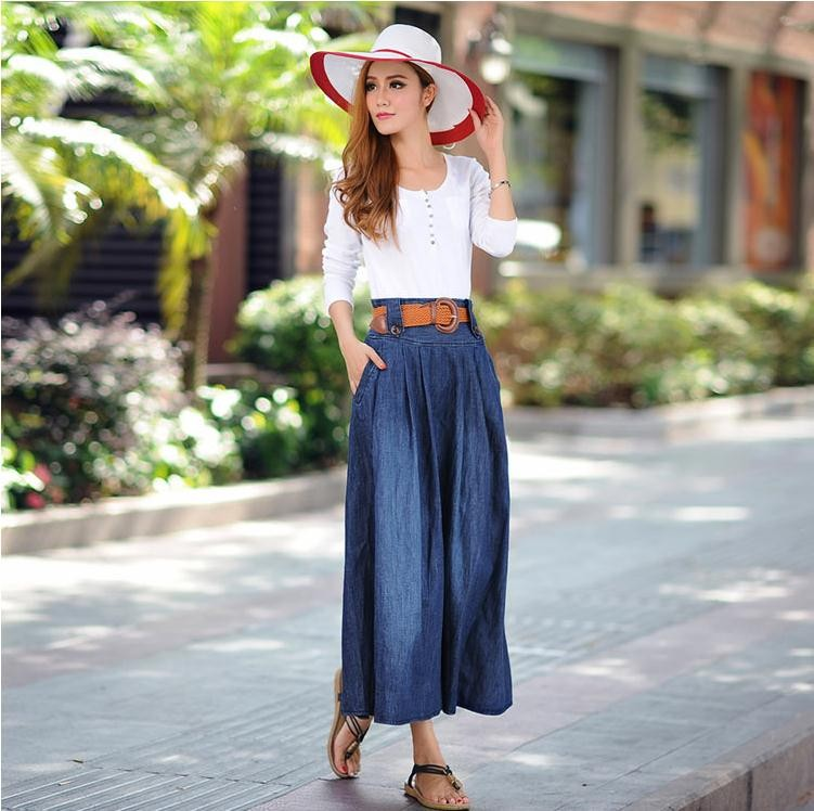 46a2f3d24 K1844A Plus Size Long Skinny Denim Skirts For Ladies 2017 High Waisted Long  Soft Summer Denim