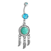 Surgical Steel Prong Set Aqua Cubic Zircon and Simulated Turquoise CZ Feather Dangle Belly Ring