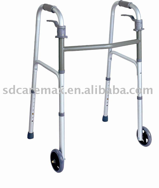 "Caremax Factory supply Deluxe trigger release folding walker with 5"" wheels"