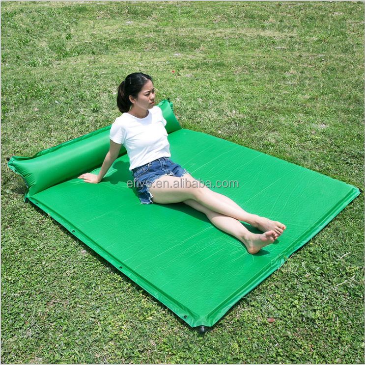 3 Person Self Inflatable Sleeping Pad with pillow Foam-Filled Lightweight Camping Matress for Hiking, Backpacking & Camping