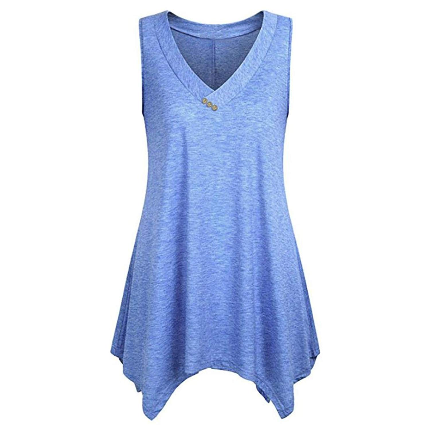 WuyiMC Women Tops, Ladies Plus Size V-Neck Sleeveless Flowy Tunic Tops Irregular Hem Pullover T-Shirt Blouse On Clearance