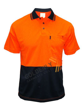 8e04aa980 Safety Polo t shirt classic orange and black color design for men/short  sleeve