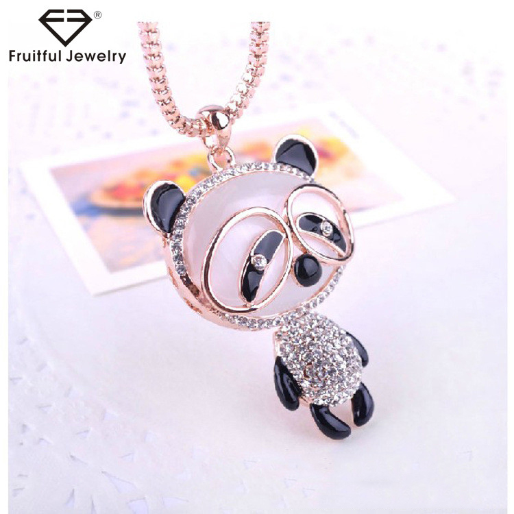 NKEL Latest design shiny diamond big head Panda sweater chain necklace fashion opal crystal cute ornaments accessories pendant