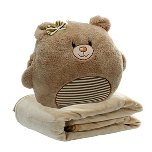 3 In 1 Cute Cartoon Plush Stuffed Animal Toys Baby Throw Bear Pillow Blanket Set with Hand Warmer Design