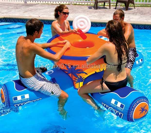High Quality Durable Inflatable Pool Bar Floating Inflatable Water Lounge  Chairs Table Pool Floats
