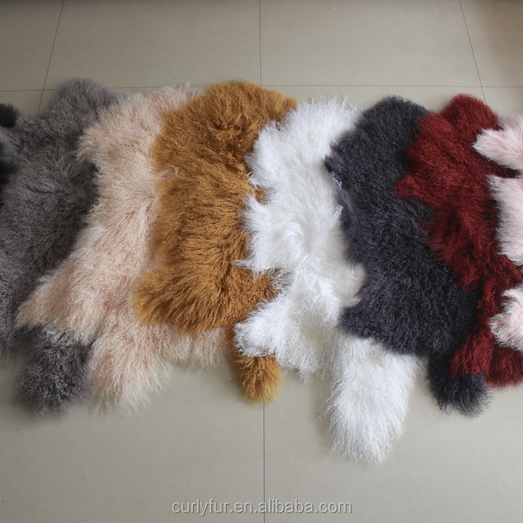 OEM Wholesale Producer Real Mongolian Tibetan Lamb Fur Sheepskin Hides Carpet Rugs