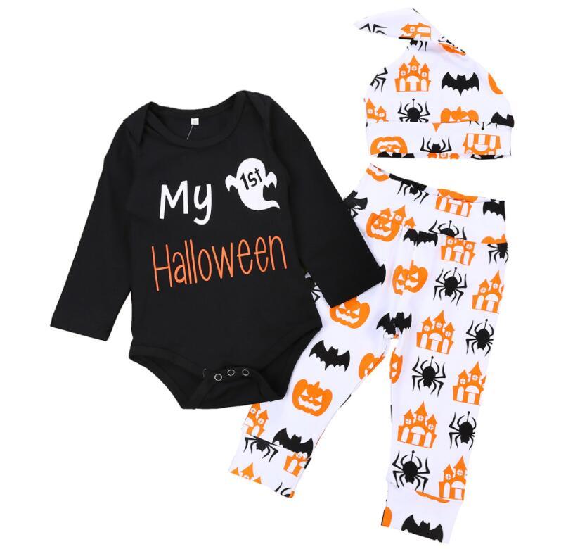 15751fada 2018 nuevo estilo infantil y pequeños mono traje de alta calidad mi primer  halloween peleles bebé
