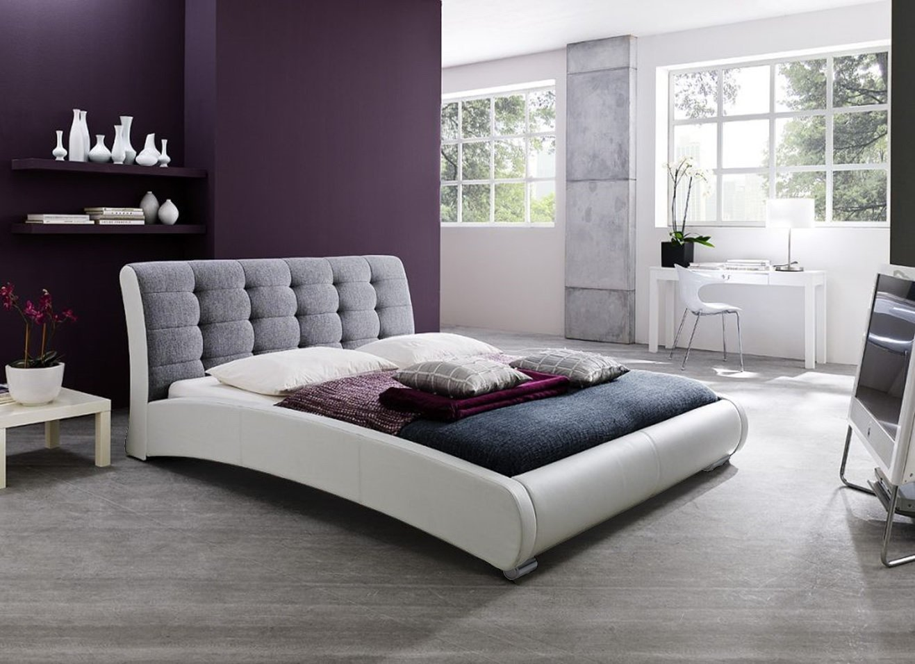 Baxton Studio Guerin Contemporary White Faux Leather Fabric Two Tone Upholstered Grid Tufted Platform Bed, Queen, Grey
