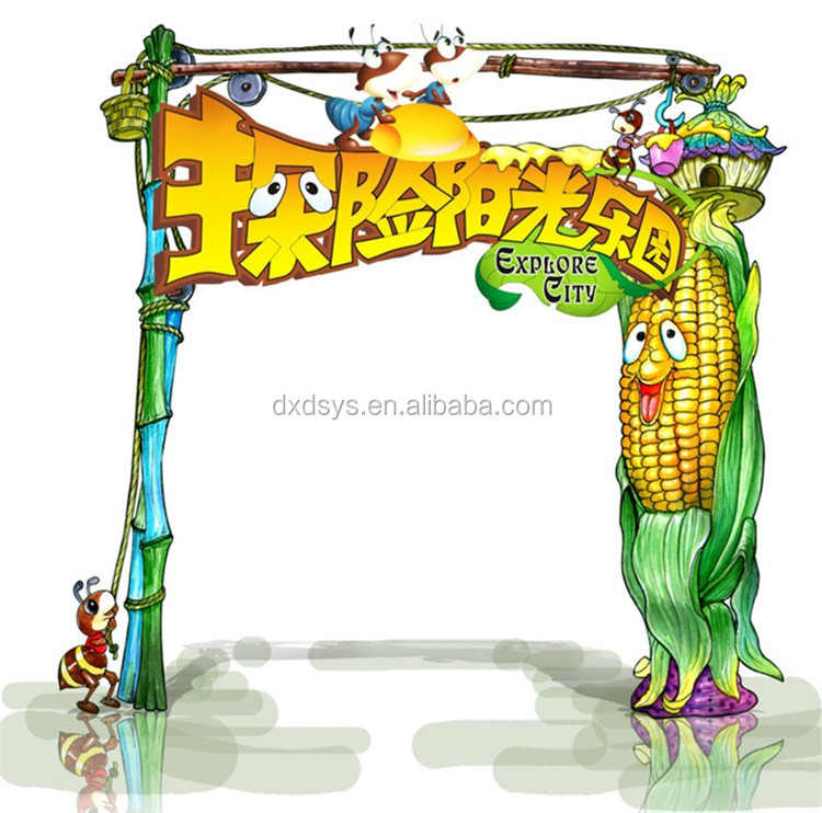 Customized new design kids park main entrance gate for amusement park