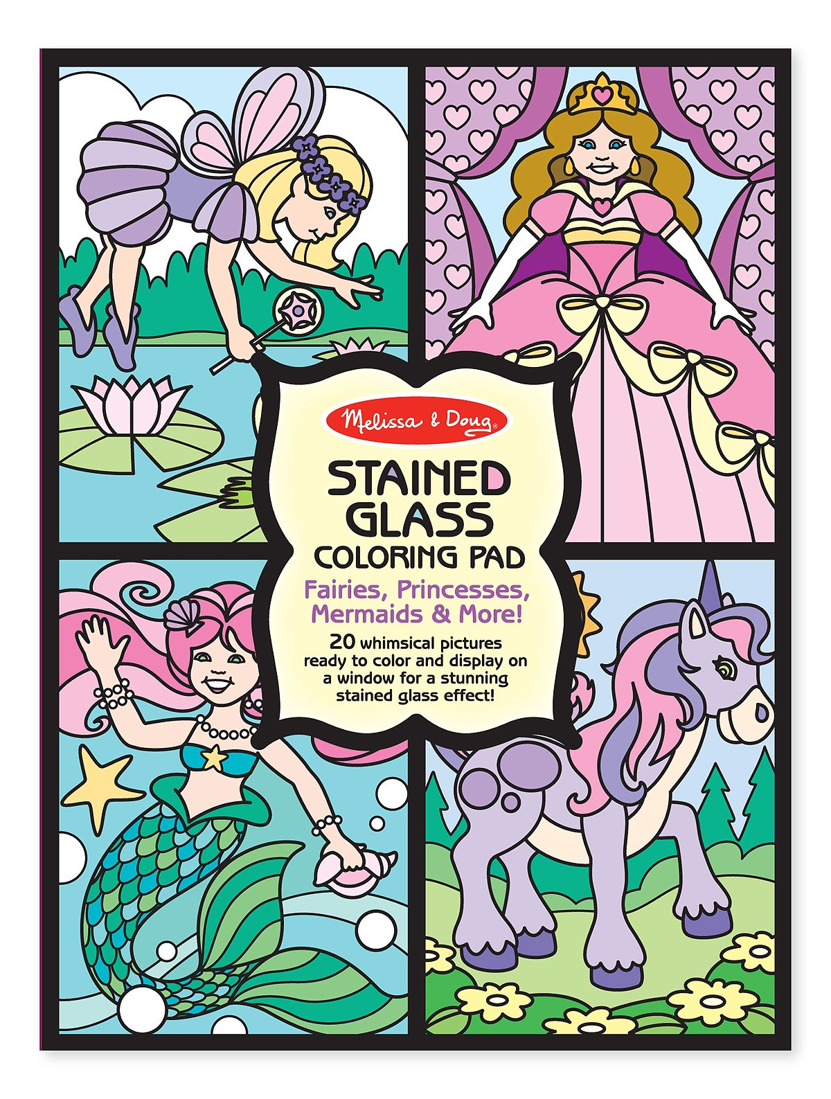 Melissa & Doug Stained Glass Coloring Pad - Fairies, Princesses, Mermaids, and More