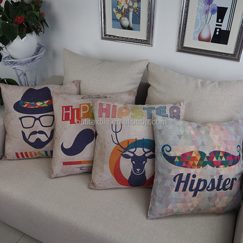 Custom Large Size Throw Pillows Decorative Outdoor Chair Cushions Moustache  Print Square 18*18 Pillow