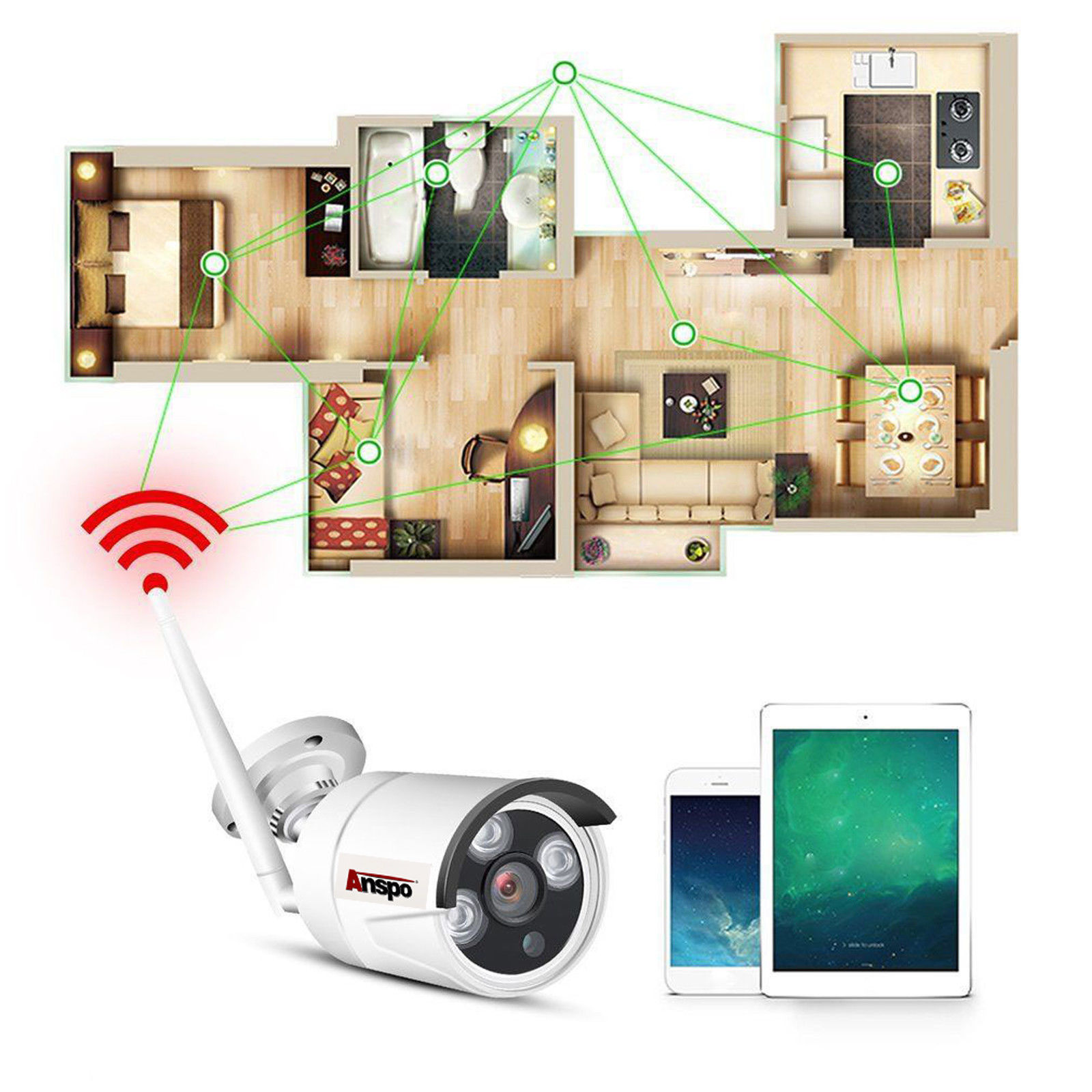 Wireless CCTV 4CH NVR Kit Outdoor IR Night Vision IP WiFi Camera with 12inch screen