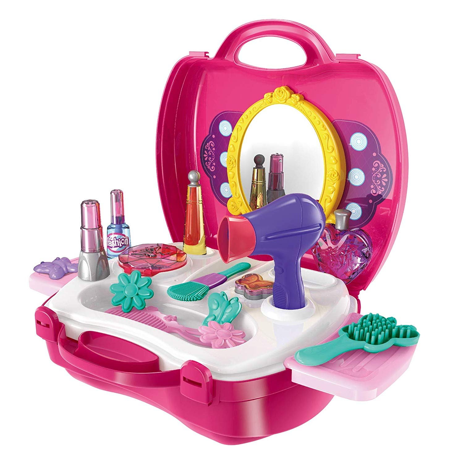 Make Up Case Little Girls Cosmetic Set – Pretend Play Accessories For Toddler Kids, Beauty Salon, 21 Pieces Makeup And Cosmetic Vanity Case, Durable Dress-Up Beauty Kit Hair Salon Playset For Girls,
