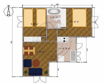 2 bedroom eco-friend prefab house villa for living