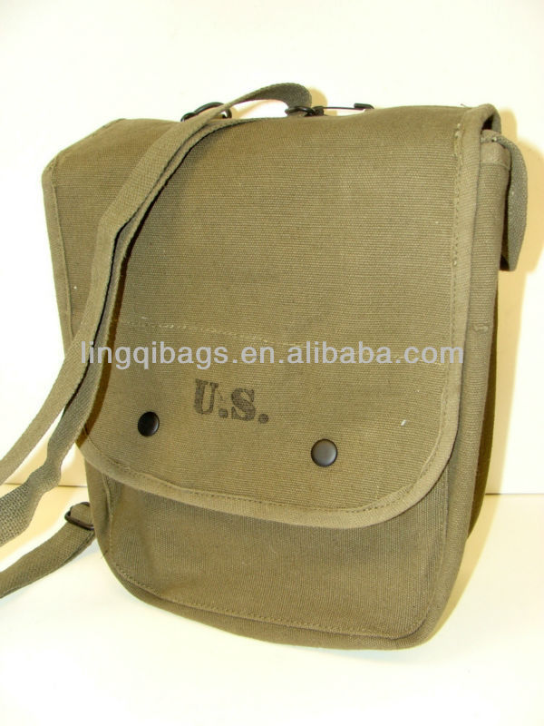 Tactical Durable Army Washed Canvas Shoulder Messenger Style Military Mapping Case for Officers