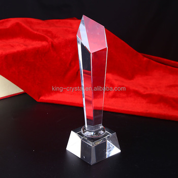 Elegant Clear Cylinder Crystal Trophy With Logo Column Crystal For Souvenir Gifts
