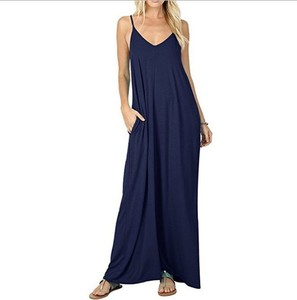 2019 Hot Selling High Quality Solid Color Sling Maxi Dress Female Camisole XL Summer Dress For Women