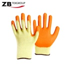 10 gauge Yellow cotton/poly with latex coated on palm work rubber work glove