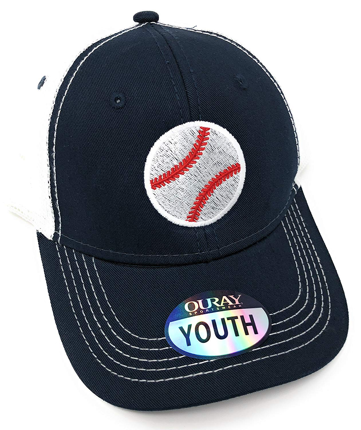 Custom Embroidered Youth Trucker Hat (Navy/White)