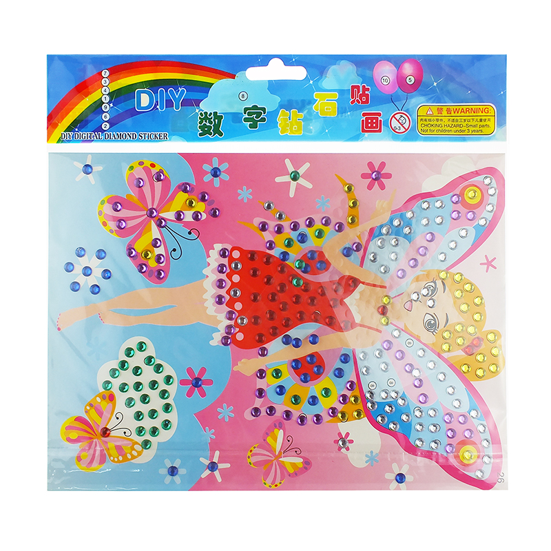Early Education Acrylic Cartoon Adhesive Sticker,Diamond Sticker