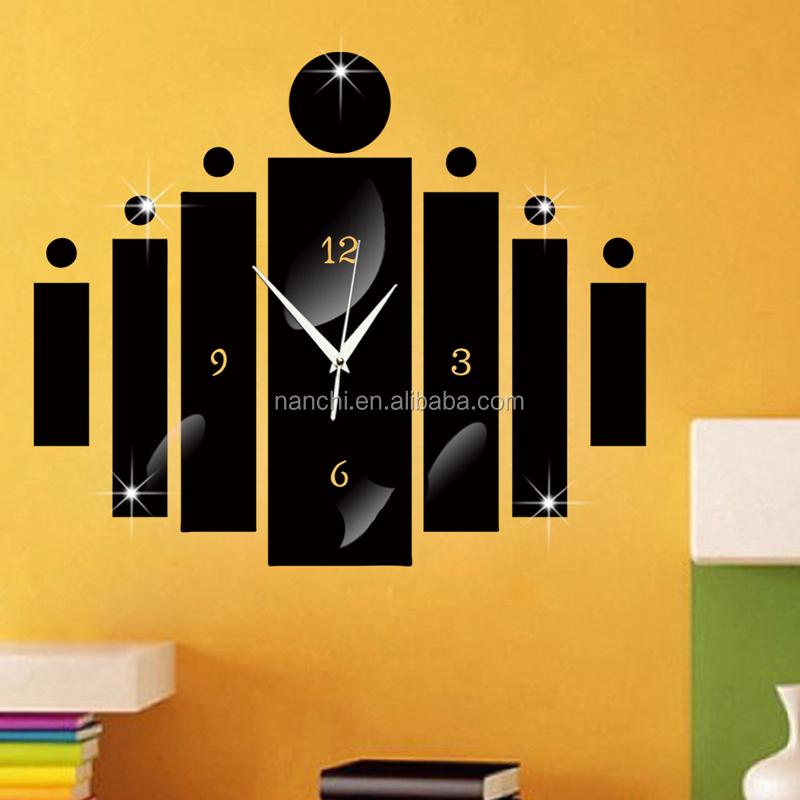 Moderne kreis und bar kombination spiegel wanduhr for Horloge design pour salon