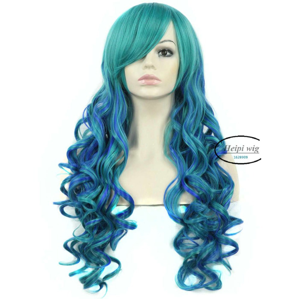 Get Quotations · Heat Resistant Women s Synthetic Hair Two Tone Mixed Green  And Blue Long Wavy ombre Wig 65707b3d9