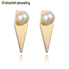 Euro Big Brand 18 K Gold Plated Simple Women Pearl Stud Earring