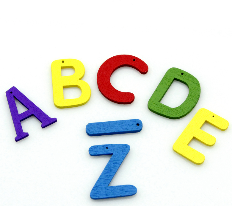"Custom Mixed Color Alphabet /Letter ""A-Z"" Wood Pendants"