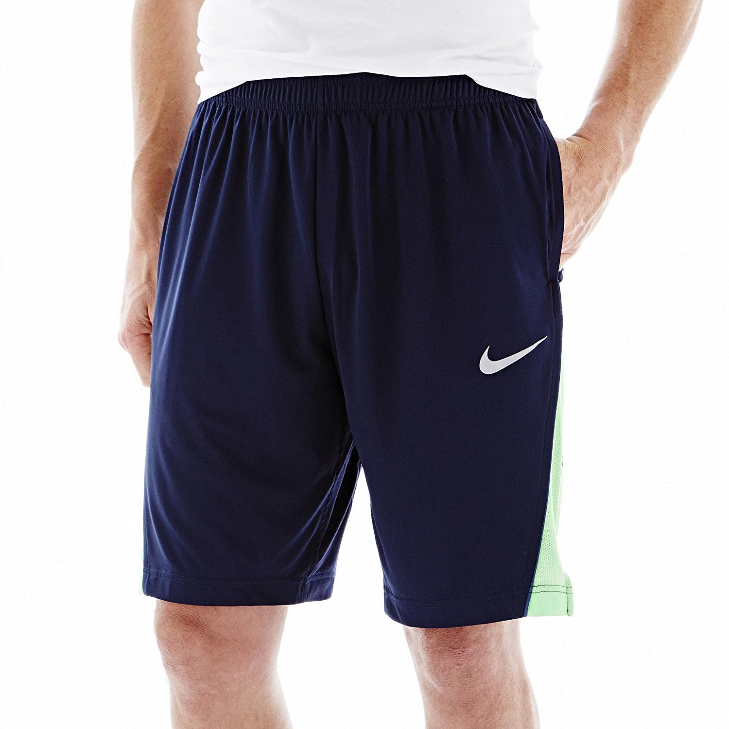9e9e0fd602ae Get Quotations · Nike Mens Legacy Dri-Fit Basketball Shorts Lime Green  Navy