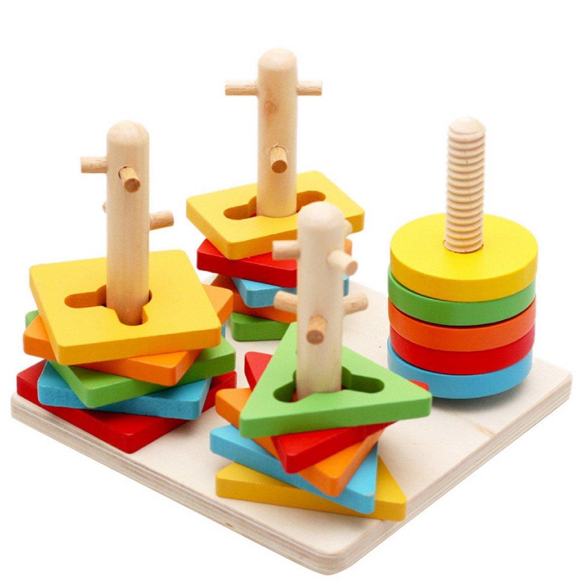 Aivtalk Children Kids Baby Wooden Stacking Column Shapes Building Blocks Educational Toy