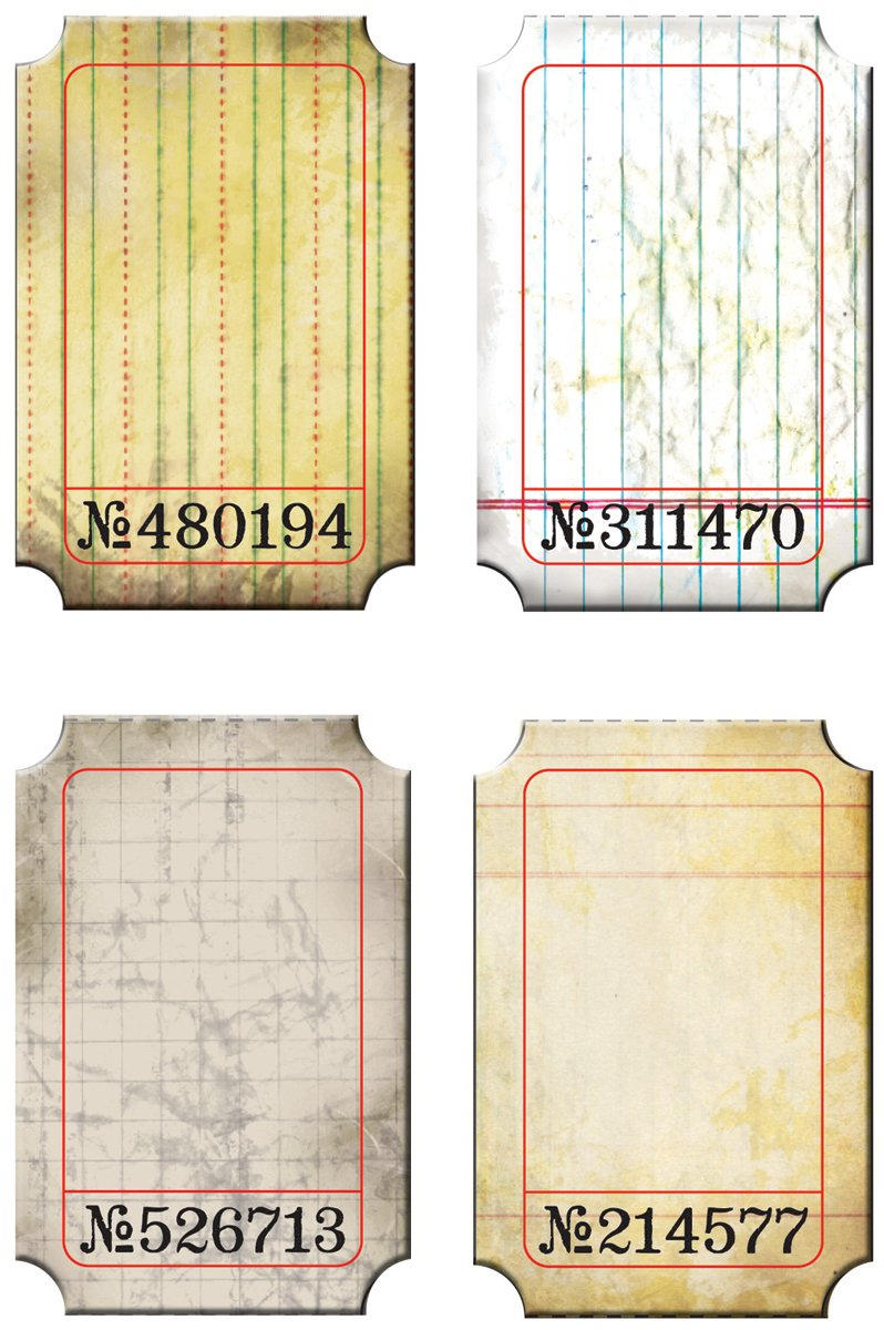 Journaling Tickets by Tim Holtz Idea-ology, 24 Tickets, 6 of 4 Different Patterns, 2 x 3 Inches, Paper, TH92732