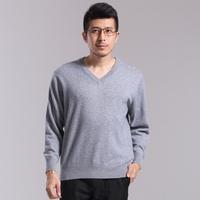 New Men V neck Slim Long Sleeve Knit Pullover Sweater multicolor