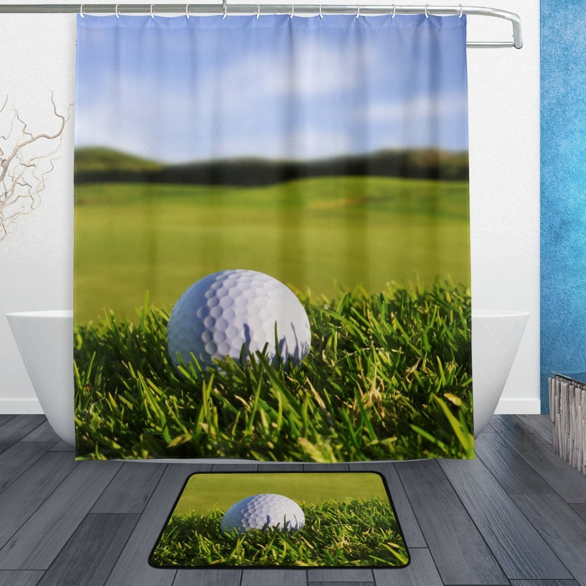Get Quotations ALAZA Set Of 2 Golf Landscape 60 X 72 Inches Shower Curtain And Mat