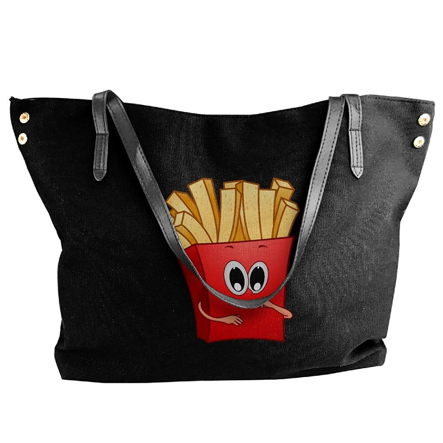 Get Quotations · Cartoon French Fries Women Handbags Hobo Shoulder Bags Tote  Canvas Handbags Fashion Large Capacity Bags Black 7943f864cc917