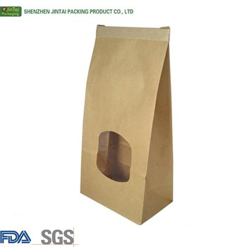 Kraft Paper Bag With Clear Window Stand Up Pouch For Charcoal Brown Bags