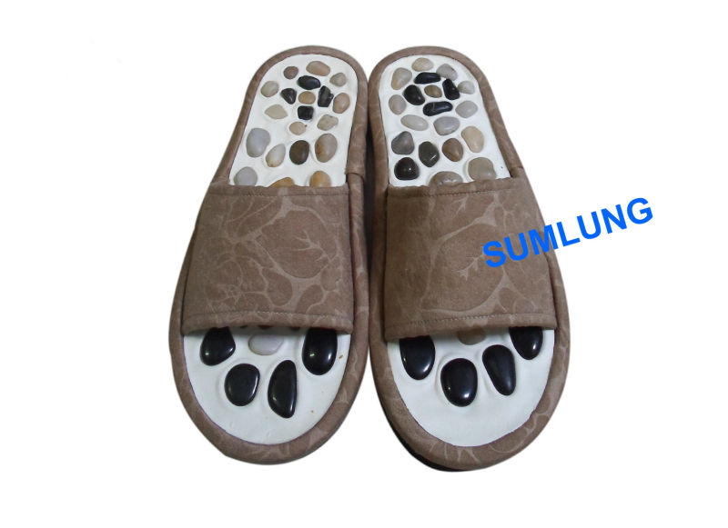 Natural Pebbles Massage Slipper Lady Health Foot Acupressure Shoes ...